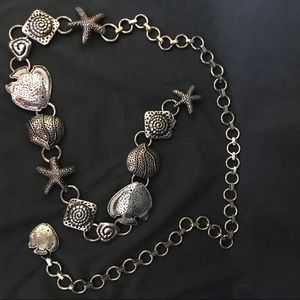Chico's Silver-Tone Nautical Metal Chain Belt